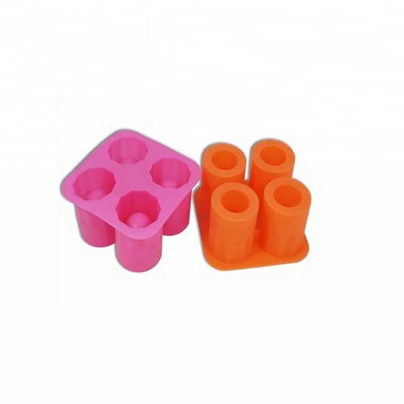 durable reusable 4 cavity silicone ice cube mold trays